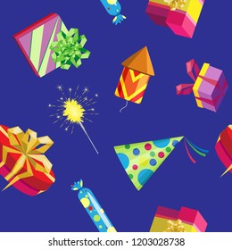 Vector seamless pattern of a variety of gifts, sparklers and fireworks. On blue background