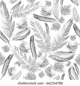 Vector seamless pattern. Various light  hand drawn feathers. Luxury sophisticated style.