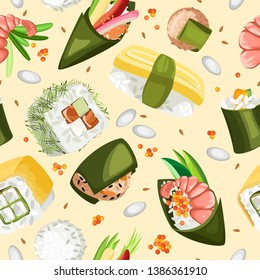 Vector seamless pattern of various sushi. On a pastel beige yellow background with big rice and caviar flying fish