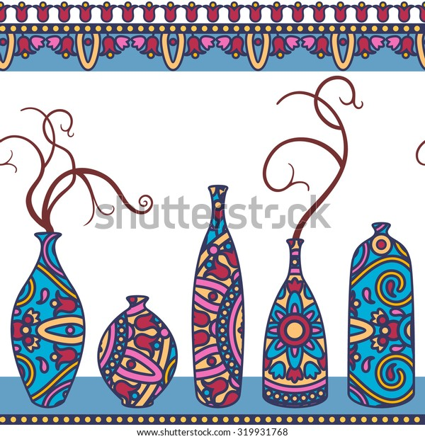 vector seamless pattern with vases and bottles