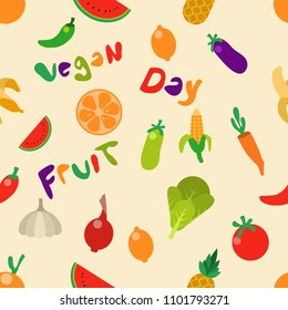 Vector seamless pattern of vegetable and fruit