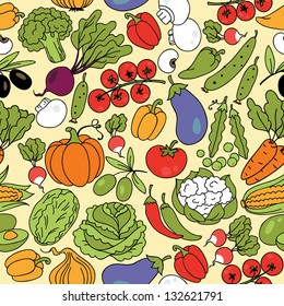 Vector seamless pattern with vegetables. Can be used for wallpaper, web page background, wrapping, textile and scrapbook.