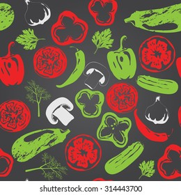 Vector seamless pattern with vegetables. Can be used in Screen printing, flexography or as web page background, wrapping, textile and scrapbook.