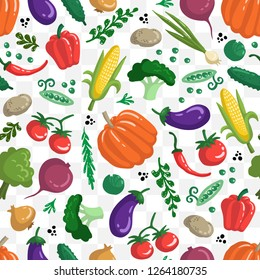 Vector seamless pattern with vegetables on white color. Colored pattern on the theme of organic, vegetarian food. Background for use in design