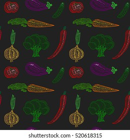 Vector seamless pattern of vegetables on dark background in cartoon or decorative embroidery style. Design best for posters, children textile, fabric prints, cards, restaurant menu, scrap-booking.