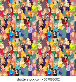 Vector seamless pattern. A very large crowd of women different ages in colorful clothes.