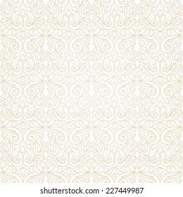Vector seamless pattern in Victorian style. Beige monochrome element for design. Ornamental vintage tracery. Ornate floral decor for wallpaper. Endless vintage texture. Light pattern fill.