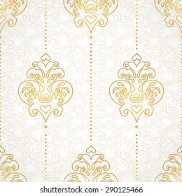 Vector seamless pattern in Victorian style. Golden monochrome element for design. Ornamental vintage tracery. Ornate floral decor for wallpaper. Endless vintage texture. Light pattern fill.
