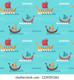 Vector seamless pattern with viking longships. Viking age ships background, wallpaper, fabric, wrapping paper.