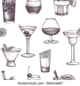 Vector seamless pattern with vintage alcoholic drinks sketch. Ink hand drawn drinks background for bar or restaurant menu