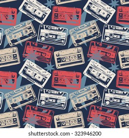 Vector seamless pattern with vintage cassettes, tapes,  old music.