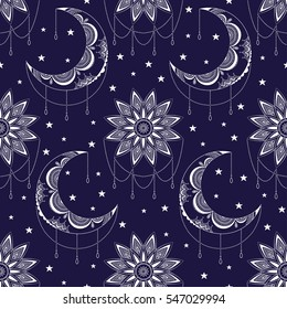 Vector seamless pattern with vintage moon, sun and stars. Boho chic print with small geometric details and elements. Abstract magic night fashion background. Textile design.