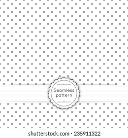 Vector seamless pattern with vintage old banner and ribbon. Repeating geometric shapes, diamond, cross, rhombus