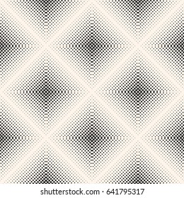 Vector seamless pattern, visual halftone gradually transition effect. Monochrome texture with small circles in rhomboid form, square abstract background. Stylish design for prints, covers, decor, web