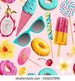 Vector seamless pattern of vivid summer sweets