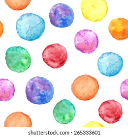 Vector seamless pattern with watercolor circles.