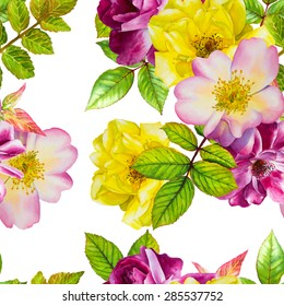 Vector seamless pattern. Watercolor floral hand-drawn illustration. Purple and yellow roses on a white background.