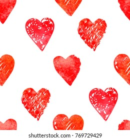 Vector seamless pattern with watercolor hearts shape in a modern style. Happy Valentines day illustration. For wallpaper, pattern fills, web page, textures, textile, wrapping paper