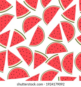 Vector seamless pattern with watermelon wedges. Juicy summer seamless pattern with watermelon.