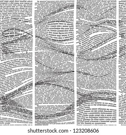 Vector seamless pattern with waves of newspaper columns. Text in newspaper page unreadable.