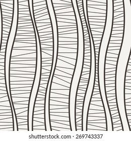 Vector seamless pattern of wavy lines connected strokes