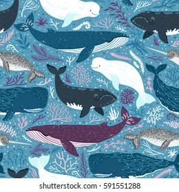 Vector seamless pattern with whales. Repeated texture with marine mammals. Sea background with animals.