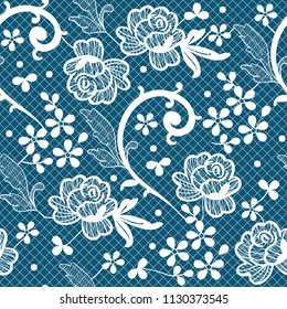 Vector seamless pattern with white laces floral motifs on blue background. Perfect for textile, covers, wallpapers and other design works