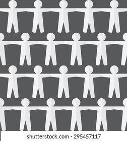 Vector seamless pattern with white paper people. Abstract illust