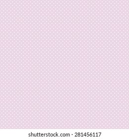 Vector seamless pattern with white polka dots on pink background