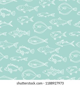 Vector seamless pattern of white sea fish on blue background. Hand drawn repeating backdrop with halibut, rock-fish, mackerel, herring, flatfish, sprat, grouper, cod. Underwater illustration