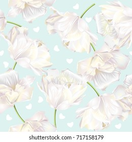 Vector seamless pattern with white tulip flowers and hearts on green background. Romantic background design for natural cosmetics, perfume, women products, greeting cards or wedding invitations