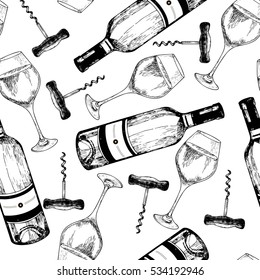 Vector seamless pattern of white wine. Hand drawn engraved objects isolated on white background. Wine bottle, glass and corkscrew. Use for restaurant, menu, store, shop, wrapping paper, textile