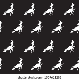 Vector seamless pattern of white witch silhouette flying broom isolated on black background. Halloween illustration