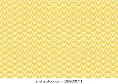 Vector Seamless Pattern with White and Yellow Stripes. Sea Waves Texture. Noodle and Pasta Abstract Background Concept.