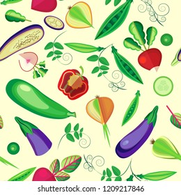 Vector seamless pattern of whole vegetables and slices. Pastel beige background