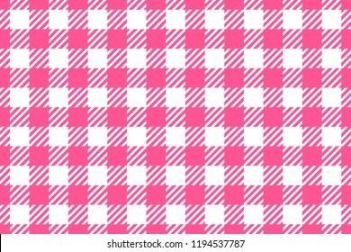 Vector Seamless pattern. Wide cell horizontal background pink table cloth in a cage. Abstract checkered backdrop.