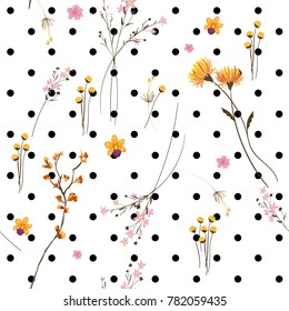 Vector seamless pattern wild flower mix on modern polka dots black and white