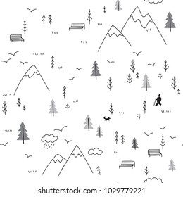 Vector seamless pattern with wild forest life in mountains and man with dog, birds. Can be printed and used as wrapping paper, wallpaper, textile, fabric, etc.