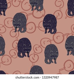 Vector seamless pattern. Wild forest animals. Cartoon style. Raccon (purple and grey color), ornament, on the beige background. Great for wallpaper, children room decor, fabric, textile, gift wrap.