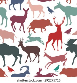 Vector seamless pattern with wild game silhouettes. Beautiful design elements, vintage colors. Perfect for prints and patterns.