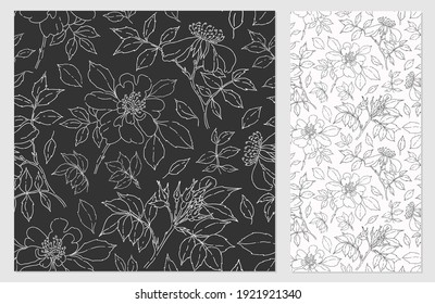 Vector seamless pattern with wild rose. Monochrome background with rose hips. Petals, buds, branches, leaves.