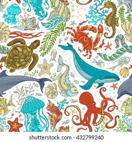 Vector seamless pattern of wild sea life. Cartoon octopus, whale, dolphin, turtle, fish, starfish, crab, shell, jellyfish, seahorse, algae. Underwater animals and plants.