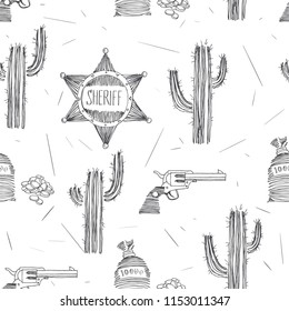 Vector seamless pattern with Wild West symbols. Sheriff star, pocket with money and revolver isolated on white. American western adventure background. Golden fever theme in sketch style.