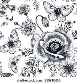 Vector seamless pattern with wildflowers and butterflies. Background for for fabrics, textiles, paper, wallpaper, web pages, wedding invitations. Vintage style. Floral ornament.