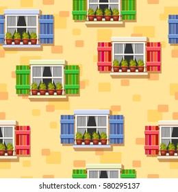 Vector seamless pattern with windows with blue, red and green shutters on a yellow wall. Bright cartoon house elements. Cute summer illustration. European street. Warm background.