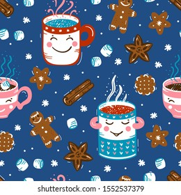 Vector Seamless pattern of Winter Hot Drinks and Sweets. Cozy Cute Mugs  with Beverages Mulled Wine, Coffee or Tea, Cocoa and Gingerbread Cookies, Marshmallow. Winter Holidays, Christmas and New Year