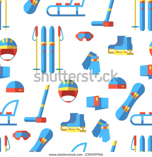 Vector seamless pattern with winter sport elements. Flat design.