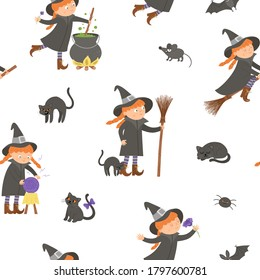 Vector seamless pattern with witches. Digital paper with Halloween characters. Cute autumn all saints eve background with girl on a broom, with cauldron, cat, magic ball for kids.