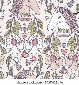 vector seamless pattern withbeautiful unicorns and fantasy flowers