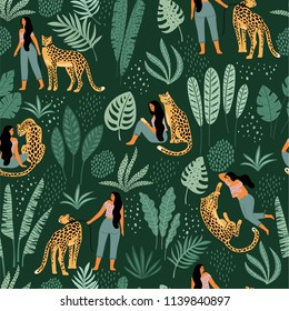 Vector seamless pattern with women, leopards and tropical leaves. Trendy design for paper, cover, fabric and other users.